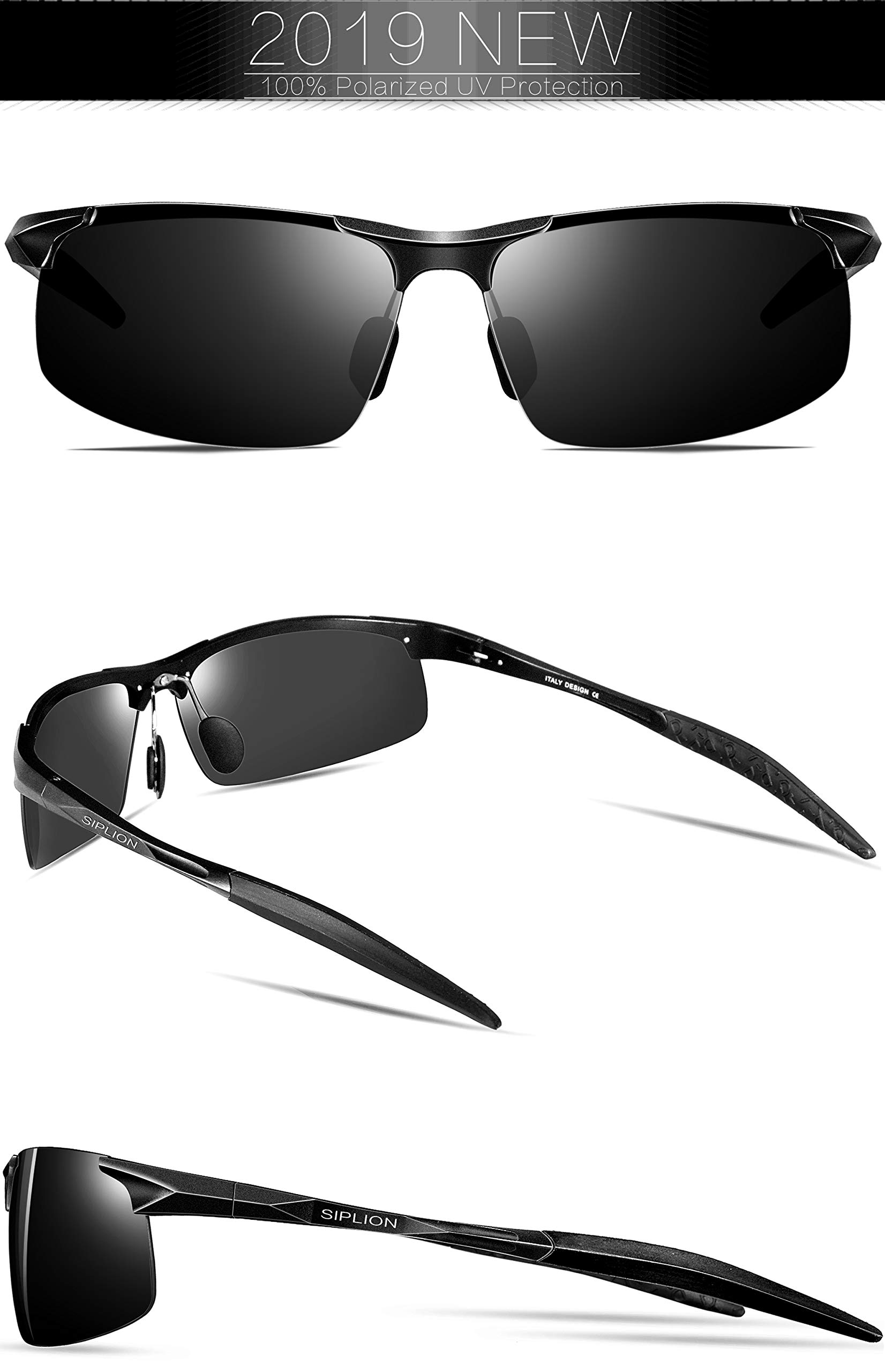 7e9f1ede8f SIPLION Men s Driving Polarized Sport Sunglasses Al-Mg Metal Frame ...