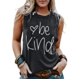 DUTUT Be Kind Tank Tops for Women Funny Letters Printed Vest Top Inspirational Casual Sleeveless Tees Shirt