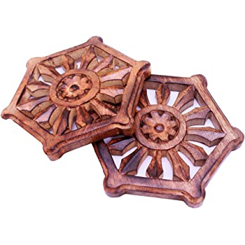 Hand Carved Set of 2 Rosewood Trivets for Hot Dishes Tabletop Pads Kitchen /& Dining Accessory