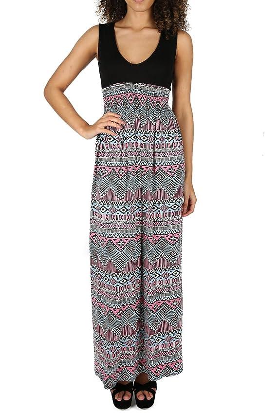 Shoppen Sie Damen Sommer Rose Floral Print Stretch Sunny gerafftes Maxi-Kleid  mit V-Ausschnitt auf Amazon.de:Kleider