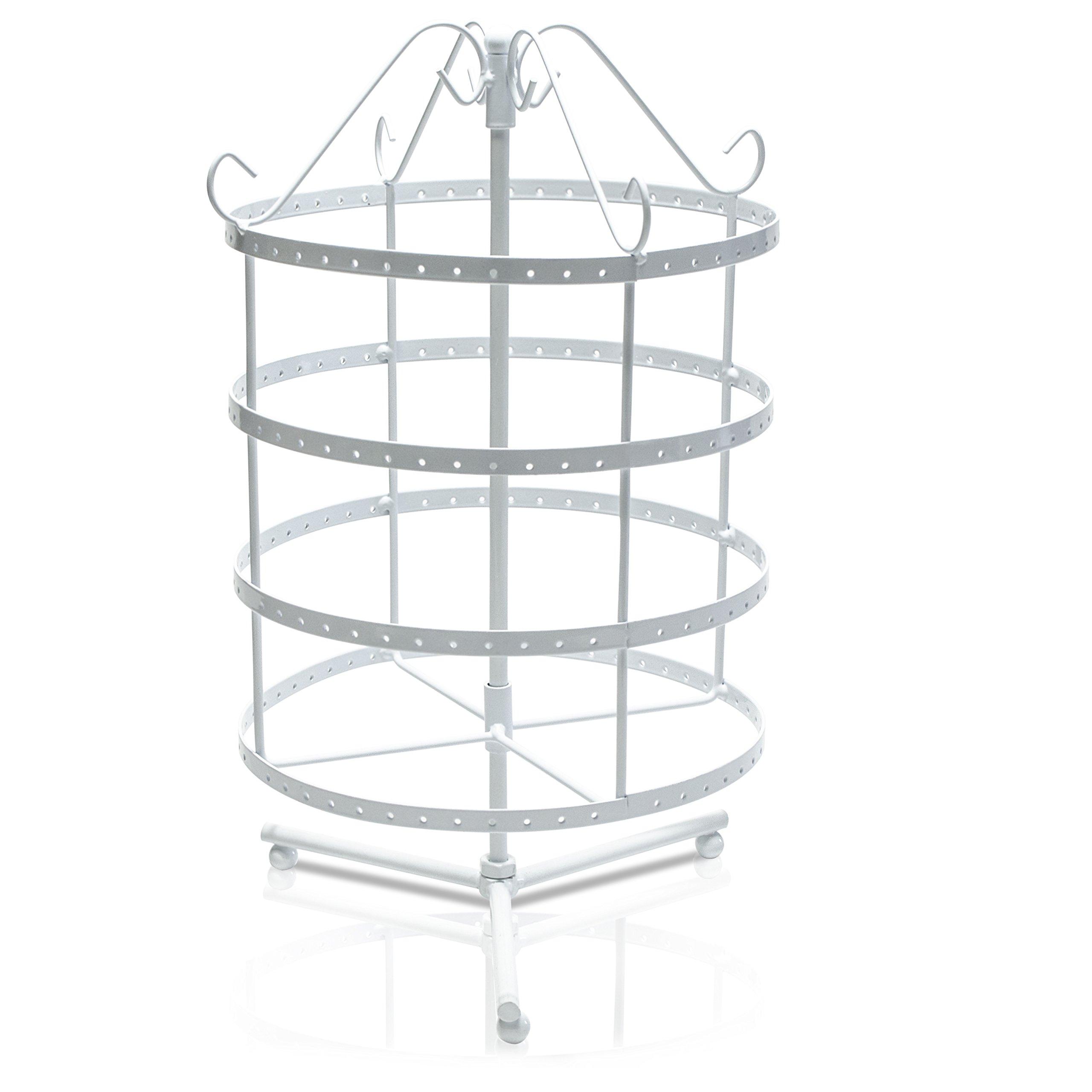 Schmuckständer Drehbar - Weiß ca. 35 x 27 x 27 cm - Schmuckhalter Ohrring Aufbewahrung und Präsentation - Grinscard