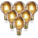 Bombillas Vintage Edison LED E27 - 8W(equivalente a 80W) 2700K / 1000LM, YUNLIGHTS 6PCS G80 Bombillas Edison Retro Filamento