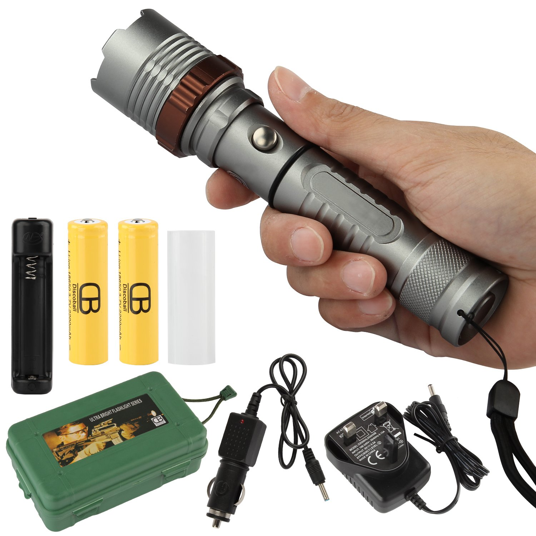 Rechargeable Flashlight 2000 Lumens Long Range Torch High ...