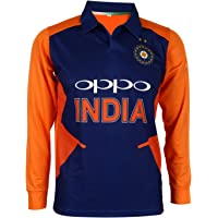 KD Cricket Team India Away Jersey Full Sleeve Cricket Supporter T-Shirt New Orange Team Uniform Polyster Fit Material…
