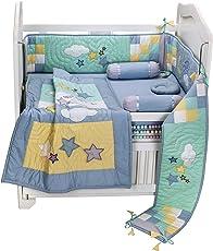 Small Wonder Cotton Moon Star 6 Piece Crib Bedding Set, 150x75cm (Blue)