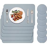 BANNIO Lot de 12 Sets de Table,6 Pièces Sets de Tables Lavables et 6 Pièces Dessous de Verre,PVC Set de Table(41 x 31CM…