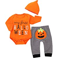 Borlai 3pcs/Set Baby Halloween Pumpkin Outfits My First Halloween Romper Trousers Cap Fashion Baby Clothes for 0-18 Months