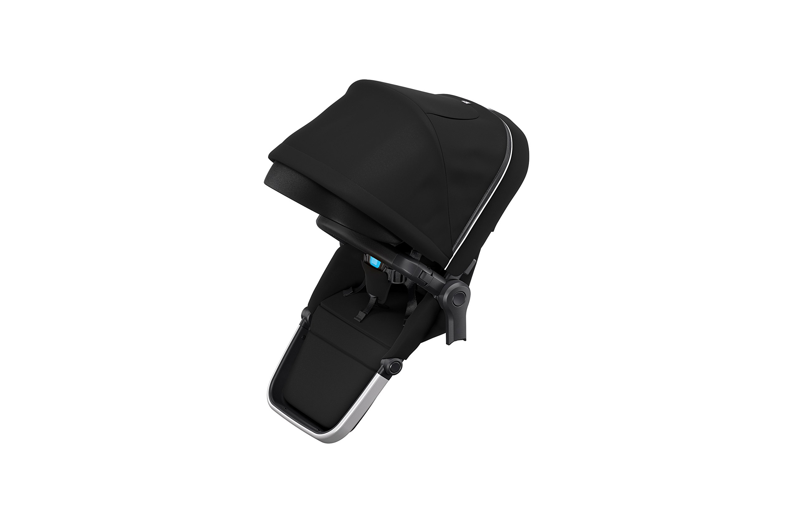 Thule Sleek Sibling Seat, Black Thule Ventilated canopy with peekaboo window and extendable sun visor gives your child a pleasant ride in any weather and provides UV protection (UPF 50+) Comfortable large seating area, with generous sitting height and foot well Reversible seat for parent- or forward-facing position 1