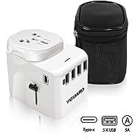 VGUARD Travel Adapter, Type C+4 USB Ports International Universal Power Plug Adaptor with Detachable Europe(Schuko) Plug…