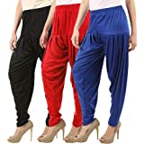 Buy That Trendz Combo Offer (Pack of 3) Cotton Viscose Lycra Dhoti Patiyala Salwar Harem Bottoms Pants for Womens (Yellow, Ra