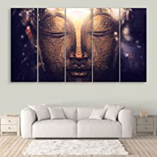 Inephos Multiple Frames Beautiful Buddha Wall Painting for Living Room, Bedroom, Office, Hotels, Drawing Room | Split Painting of 5 (150cm x 76cm)