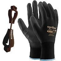 24 pairs PU coated work gloves Gardening Mechanic and FUZZIO clip glove holder (M - 8, Black)