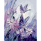 BOSHUN Pintar por Numeros para Adultos Niños Pintura por Números con Pinceles y Pinturas Decoraciones para el Hogar Mariposa