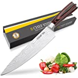Couteau de Cuisines,Couteau Cuisine,Couteau de Chef Professionnel 20cm Lame en Acier Inoxydable avec Poignée Ergonomique Anti Dérapante - Asmeten