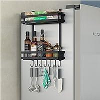 DaiWeier Étagère Réfrigérateur 2 couches Étagère à Épices Avec 6 crochets,48.5x40x9.2 cm Idéal pour le rangement de la…