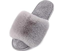 LongBay Ladies' Fluffy Faux Fur Slippers Open Toe Memory Foam Comfy Flat Summer House Shoes