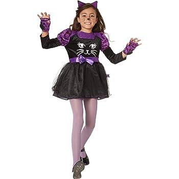 dressforfun 900471 - Costume Bambina Ragazza Delizioso Costume da Gatto in  Nero con Elementi Lilla (140  073b43de77a
