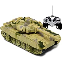 zest 4 toyz Remote Control Army Battle Tank 360 Rotating Turret with Light Sound Toy for Kids Boys (Pack of 1…