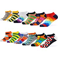 WeciBor Men's Ankle Socks Dress Colorful Fancy Novelty Funny Bright Casual Combed Cotton Socks Pack