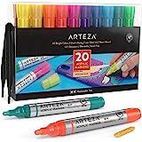 Arteza Markery do farb akrylowych, zestaw 20 różnych kolorowych pisaków, wymienne końcówki na bazie wody, do skał, płótna, sz