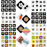 Oalyip Tarjetas Negras y Blancas para Bebés, 96 Piezas Tarjetas Flash de Contraste para Estimulación Visual de Bebés Recién N