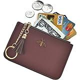 AnnabelZ Damen Münzbörse Münzbörse börse Leder Kartenhalter mit Schlüsselanhänger Quaste Reißverschluss, burgunderfarben (Ro