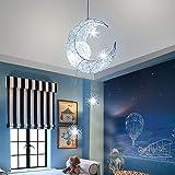 Lampadario a LED plafoniera luna e stella lampadario in ferro lampadario bianco caldo camera da letto decorazione soggiorno (