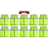 EVEN 2' Inch Reflective Safety Jacket, Green, Mesh Type, Safety Jacket (green, set of 10)