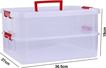 Kurtzy Plastic Storage Box Double Layer Transparent Portable Organizer Container for Travelling Camping Office Kitchen Assorted