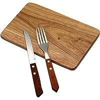 GRÄWE 3-teiliges Steakset mit 1 Messer 1 Gabel und 1 Holzbrettchen
