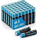 Piles alcalines 44pcs AAA Lot de 1,5V Puissants Stockage de 10 Ans LR03 Piles pour Telecommande Radio-Reveil, Horloge et Lamp