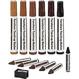13 Meubelpennen, Hout Reparatie kit-Markers en Wax Sticks met Slijper Kit, voor Scratch Reparatie, Hout touchup, Reparatie To
