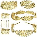 Finrezio 10 Pezzi Bracciale con Foglia di Alloro della Dea Greca Corona d'oro Fascia per Capelli Pettine Forcina Set di Gioie