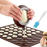 Nifogo Macaron Mat Silicone Making Set - 48 Capacité Macaron et Décoration StyloCuisson Tapis Moule Mode Glaçage Conseils ave