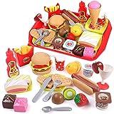 GILOBABY Jouet Aliment Cuisine Enfant,Fast Food Jouets avec Plateau,Fruit Jouet a decouper,Jeu Imitation Enfant 3 4 5 6 7 8 A