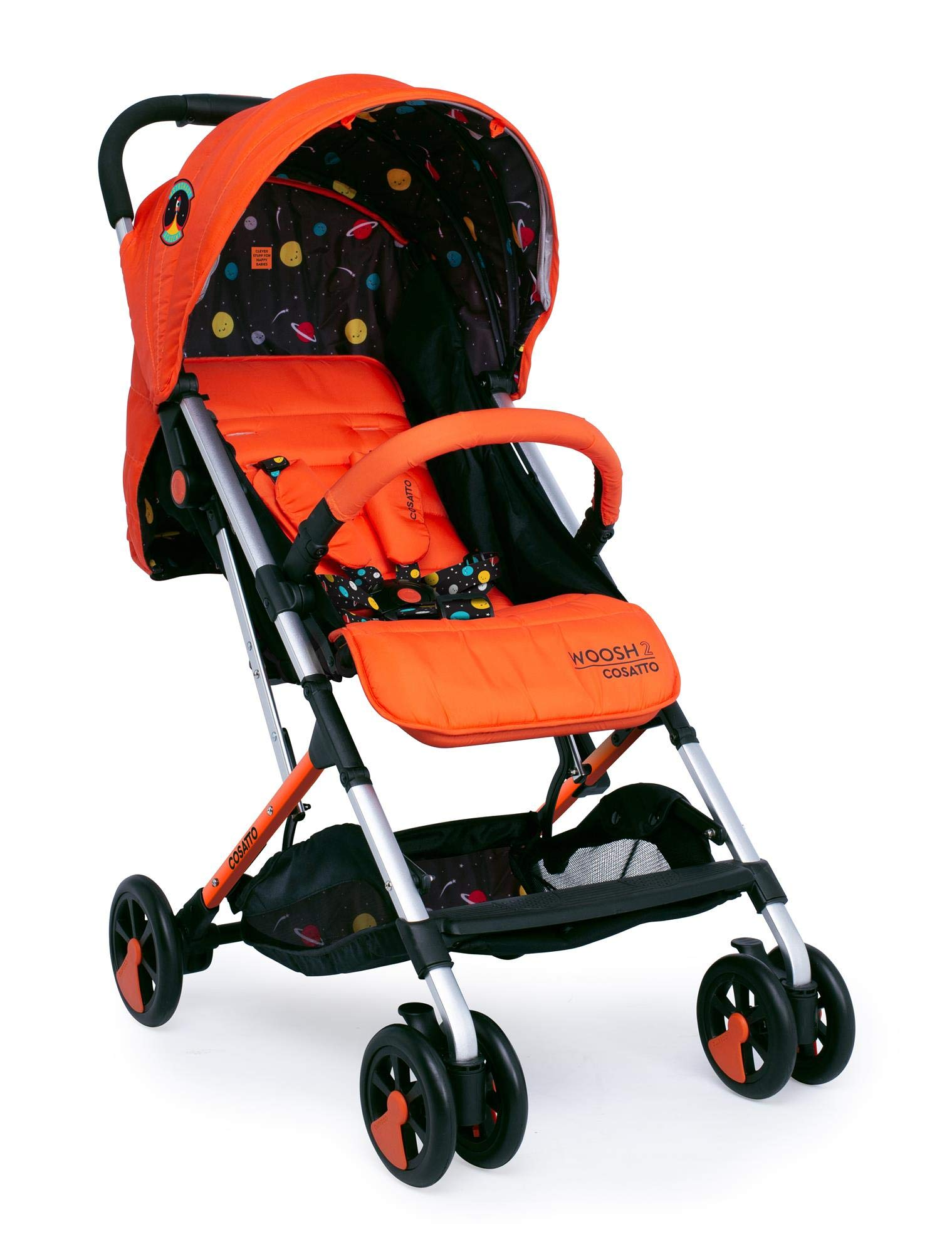 Cosatto Woosh 2 Stroller Spaceman with raincover and Bumper bar Birth to 25kg Cosatto INCLUDES: The pushchair itself, Raincover, Bumper bar,4 year guarantee(UK and Ireland only) Suitable from birth to max weight of 25kg. Lets your toddler use it for even longer. Lightweight, sturdy aluminium frame. Newborn recline. Lightweight waterproof Ripstop fabric on seat. Lockable swivel front wheels for quick manoeuvres Roomy seat for extra comfort. Removable bumper bar for extra support. Magic bell. Front & rear suspension for a smooth ride. 3