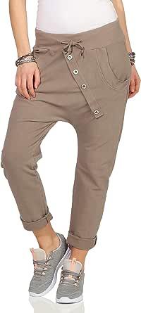 Mississhop - Pantaloni da donna, in cotone, per il tempo libero, con elastico in vita
