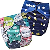 Bembika A Plus Printed Cloth Diapers for Babies, Washable Reusable, Adjustable Sizes (2 Combo) (No Inserts Included) 2G