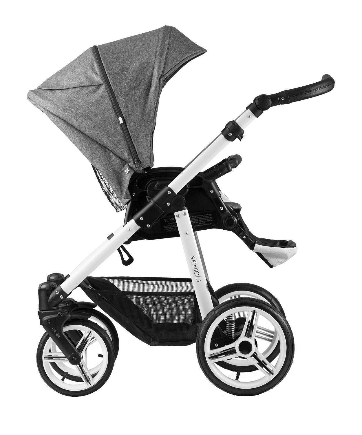 Venicci Pure 3-in-1 Travel System - Denim Grey - with Carrycot + Car Seat + Changing Bag + Apron + Raincover + Mosquito Net + 5-Point Harness and UV 50+ Fabric + Car Seat Adapters + Cup Holder Venicci 3 in 1 Travel System with included Group 0+ Car Seat Suitable for your baby from birth until 36 months 5-point harness to enhance the safety of your child 3