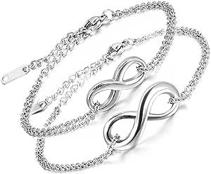 Aroncent - Set 2 bracciale unisex, ciondolo con simbolo dell'infinito, in acciaio inox, regolabile, con sacchetto regalo, per coppia, colore: argento