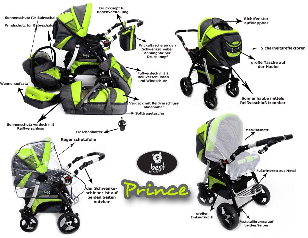 Best For Kids Prince Pram/Stroller different colors  Huge children's car set from Best For Kids. This package leaves nothing to be desired and will accompany you and your child from infancy. Included are a baby tub attachment and a sports seat (buggy). The individual attachments can be changed in seconds. The ingenious design is easy to use. Because of the low weight and size you can stow this stroller very easily in the car. Security has priority! With this combi-van you are always on the safe side. The Best For Kids stroller fulfills the European safety standard EN1888. This specifies safety requirements with regard to materials, construction and stability. Great colors - modern construction. This Best For Kids stroller is not only extremely versatile, it is also an absolute eye-catcher. The modern color scheme in combination with the large tires (to choose from 3 sets of wheels, also air bikes for 25 EUR surcharge) on the chrome rims provides a beautiful look. 4