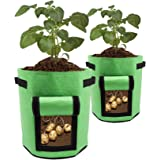 ValueHall Potato Grow Bag 7 Gallon 2 Pezzi Verdure Grow Bag Doppio Strato in Tessuto Non Tessuto Traspirante Sacchetti Incoll