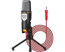 IUKUS PC Microfono 3.5mm Condensatore per Computer Gioco Mic Plug & Play con Treppiede per Registrazione Vocale, Podcasting,