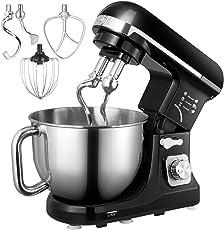Aicok Küchenmaschine(6 Geschwindigkeit, 5Liter), Knetmaschine mit Doppelten Knethaken, Schlagbesen, Rührbesen, Knethaken, Edelstahl-Rührschüssel, Spritzschutz, Planetarisches Rührsystem, Schwarz