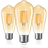 LOHAS E27 Edison Ampoule 6W, Equivalent à 60W, Ampoule LED Vintage Filament, ST64 Filament Ampoule Antique 2700K Blanc Chaud,