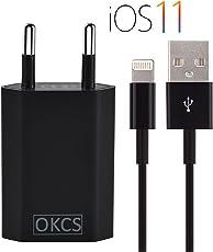 OKCS 1A Netzteil + 2 M Ladekabel für Apple iPhone XS/XR / XR Max/X / 8/8 Plus / 7/7 Plus etc. - schwarz