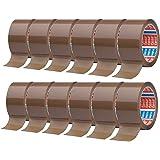 tesa Pack 64014 in 12-pack - geluidsarm pakketplakband voor het verpakken van pakketten en verzenddozen - bruin - 12 rollen e
