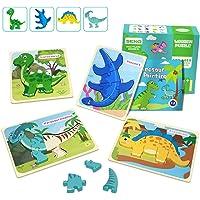 IMMEK Jouet Enfant 3D Dinosaures Puzzles en Bois 1 2 3 4 5 Ans Montessori Educatif Garçon et Fille Jeux Bébé Cadeau…