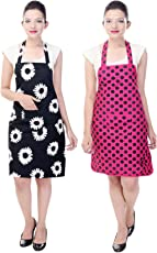 Switchon Waterproof Free Size Cotton Kitchen Apron Pack of 2