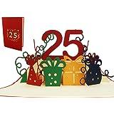 LIN 17532, POP- Up 3D Karte Geburtstagskarten 25 Hochzeit Grußkarten 25 Jahre Jubiläum, 25. Hochzeitstag, 25 Party Einladungen, Grußkarten 25 Geburtstag, rot, Nr.286